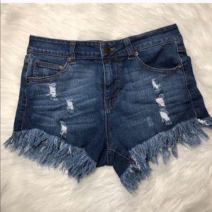 Elan Stretchy Medium Wash Denim Jean Shorts
